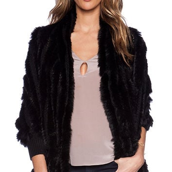 heartLoom Shelby Rabbit Fur Wrap in Black