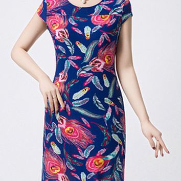 Casual Fantastic Round Neck Feather Printed Bodycon Dress
