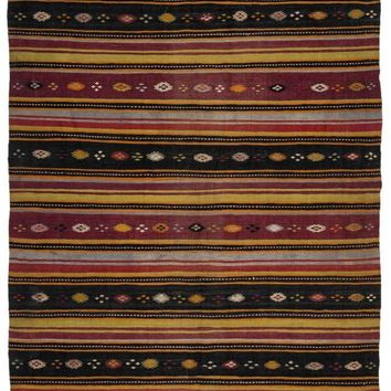 Handmade  Unique Striped Over Dyed Kilim Rug 6'2'' X 11'4'' FT 189 X 345 CM (Free Shipping)