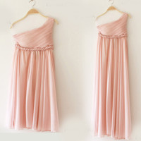 Greek Goddess Elegant Dress Nude pink Gown/ Bridesmaid Dress 3 Colors