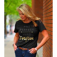 Cherished Girl Grace & Truth Not Perfect Just Forgiven Girlie Christian Bright T Shirt
