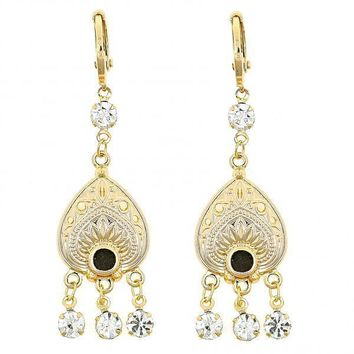 Gold Layered 02.60.0078 Chandelier Earring, Heart Design, with White Cubic Zirconia, Polished Finish, Golden Tone