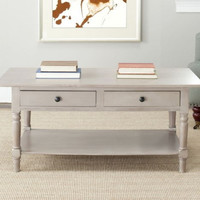 Contemporary Coffee Table With Two Drawers Living Room Furniture Grey Finish New
