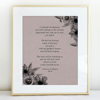 "Poetry Print- Rumi ""A Moment Of Happiness"" With Watercolor Flowers"