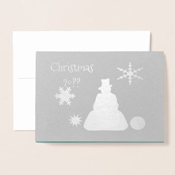Blue Haze Snowman Happy Holidays Foil Card