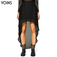 YOINS 2016 New Summer Women Chiffon Skirt Fashion Asymmetric High-low Skirt High Elastic Waist Skirt Saia Feminino Plus Size