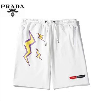 PRADA Fashion New Letter Lightning Print Women Men High Quality Shorts White