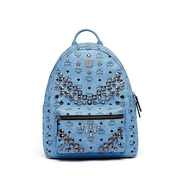 MCM Blue Medium Leather Stark Studded Visetos Backpack Bag