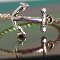sterling silver anchor ring silver anchor by CapturedIllusions