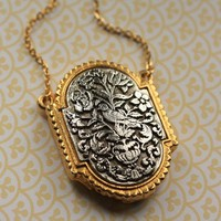 Vintage Bird Locket Necklace, Silver and Gold Pendant, Long Chain, Whimsical Art Nouveau, Perfume Jewelry Fashion