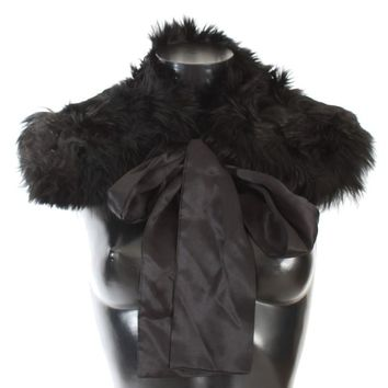 Dolce & Gabbana Black Alpaca Fur Shoulder Collar Scarf