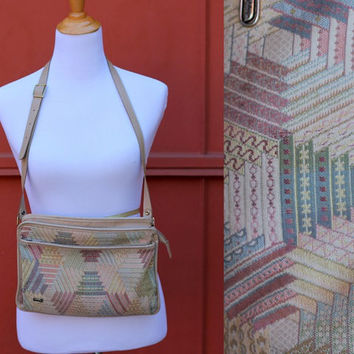 Vtg 80's Granny quilted style purse handbag messenger bag phillippe pastel colors shoulder strap 5 compartments