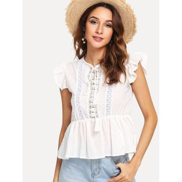 Layered Ruffle Trim Eyelet Embroidered Top