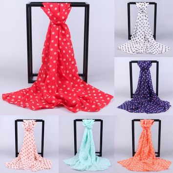 women Polka dot chiffon scarf girl neckerchief Long Wrap Shawl Polka Dot Chiffon lenco feminino Scarf Scarves Stole Tippet shawl