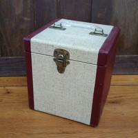 Vintage Covered Wood 45s Record Tote Box Carrying Case