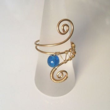 Handmade Gold Plated Cobalt Blue Crackle Quartz Wire Wrap Ring, Wire Weave, Spirals