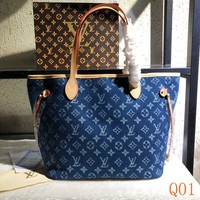 HCXX 19Aug 029 M40156 Louis Vuitton LV Cowboy Fashion Tote Bag Hight-capacity Shopper Handbag Size 32-29-17cm blue