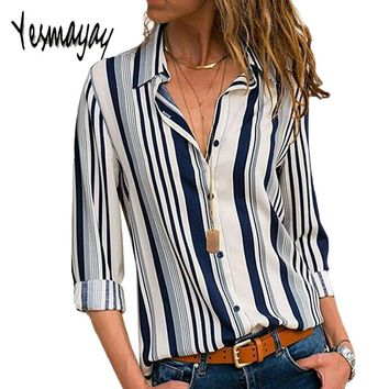 1919ad1f88e Autumn Striped Blouse Long Sleeve Womens Tops And Blouses Big Si. Gender   Women Collar  Turn-down ...