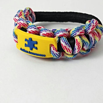 Autism awareness, Autism bracelet, puzzle piece bracelet, autism jewelry, multi colored and black paracord stretch   bracelet, medical ID