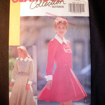 Women's Dress with Flared Skirt Misses' Size 6, 8, 10 Vintage Butterick 5691 Sewing Pattern Uncut