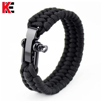 Survival Paracord Bracelet Men Outdoor Camping Equipment Woven Parachute Braided Rope Stainless Steel Survival Braided Pulseras