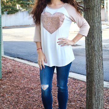 Sequin Heart Baseball Tee