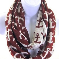 Anchor Nautical Print Infinity Knit Winter Fashion Scarf Burgundy