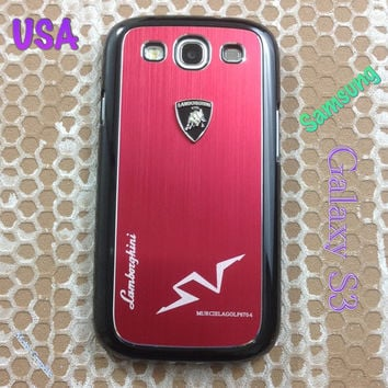 Lamborghini Samsung Galaxy S3 Case Lambo 3D Metal Logo with Cover for S3 / i9300 - F1 Red