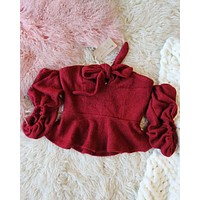 Nordic Lux Sweater Top in Burgundy