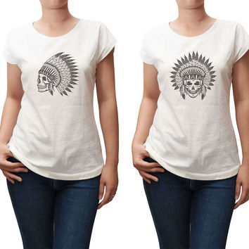 Women Skull wear indian headdress Printed T-shirt WTS_02