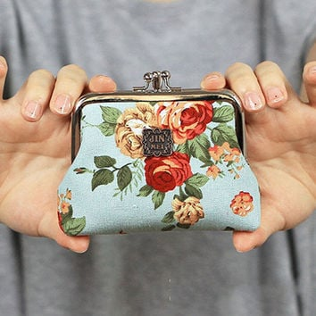 Hot Women Cute Coin Purse Retro Vintage Flower Canvas Small Wallet Girls Change Pocket Pouch Hasp Keys Bag Metal Bar Opening New