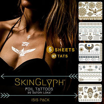 SkinGlyph Silver and Gold Foil Temporary Tattoos. In a Flash, Tattoos Will Look Beautiful on You. (97 Unique Designs)