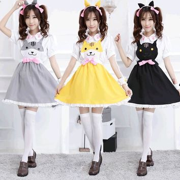 New arrival Anime Neko Atsume Costume Cosplay For Woman Girl Halloween Carnevale Costumes Clothes Maid waiter dress Free Size
