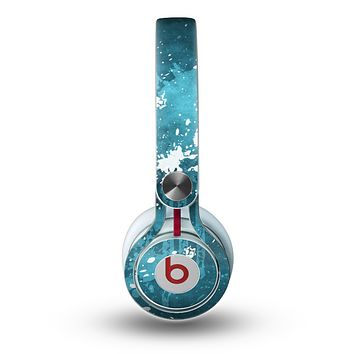The Abstract Blue Paint Splatter Skin for the Beats by Dre Mixr Headphones