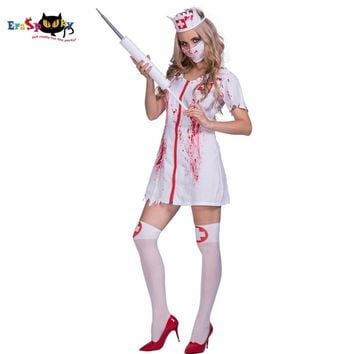 Women Sexy Zombie Bloody Stains Nurse Costume Cosplay Dress Party Fancy Dress for Female Adult Lady Scary Halloween Costumes