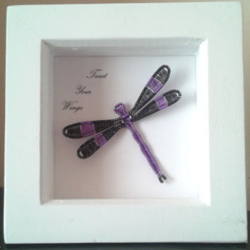 Trust Your Wings, Shadowbox Frame, Art Shadow Frame Decoration, Handmade Wire Wrapped Black Purple Dragonfly Wall Art, Unique Home Gift Idea