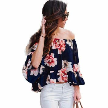 PEAPXN2 Summer Autumn Peplum Flower Off Shoulder Women Blouse Feminine Shirt Femininas Top Clothing Clothes Female Femme Lady Tunic 2016