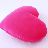 Hot Pink Velvet Heart Shaped Decorative Pillow - Small Size