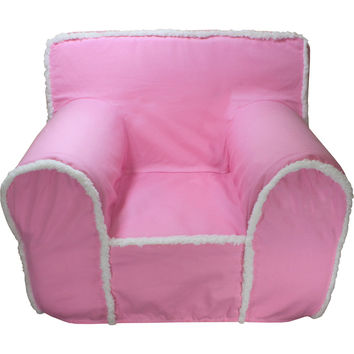 Regular Pink Sherpa Chair Cover for Foam Childrens Chair