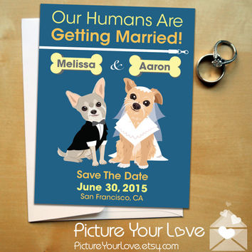 Pet Save The Date Magnets: Custom Pet Portraits, Pet Weddings, Pet Save The Dates, Funny Save The Dates, Whimsical Save The Dates