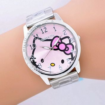 causal female fashion watch stainless steel girl hello kitty quartz watches women ladies cartoon watches  gift mujer reloje