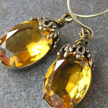 Topaz Yellow Crystal Old Hollywood Style Earrings by lovelandshadetree