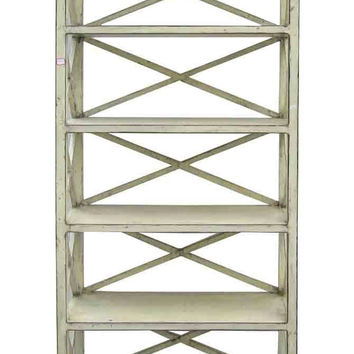 Rustic Off White Color Solid Wood Display Cabinet Book Shelf JZ419S