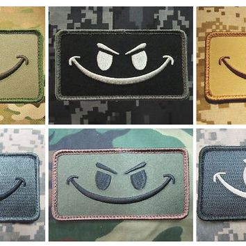 """BuckUp Tactical Morale Patch Hook Smiley Face Patches 3.25x1.75"""""""