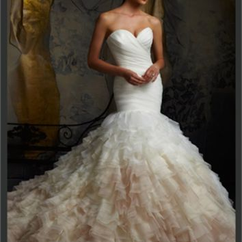 White Mermaid Sweetheart Organza 2013 Wedding Dress IWD0232 -Shop offer 2013 wedding dresses,prom dresses,party dresses for girls on sale. #Category#