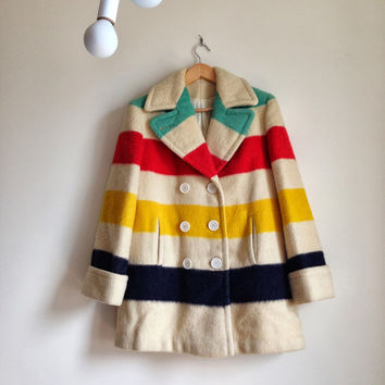 Genuine Rare Vintage Hudson Bay Blanket Striped Wool Peacoat Coat