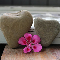 Stone Heart Set , Natural Surf Tumbled Rocks from Lake Erie , One of a Kind  Romantic Natural Home decor , Beach Theme Wedding