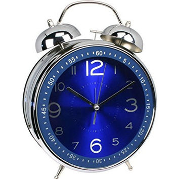 LUOYIMAN Alarm Clock Twin Bell Retro Alarm Clock Silent Pointer clock