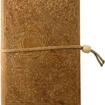 Embossed Brown Celtic Tree Design Italian Leather Journal with Bead Tie (6x8'')