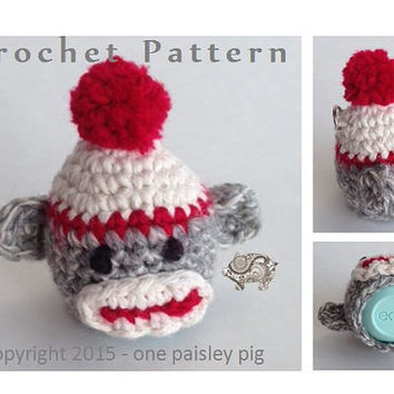 Sock Monkey eos Lip Balm Holder - PDF CROCHET PATTERN